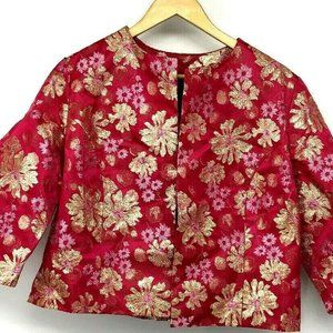 Womens Cropped Floral Jacket Open Half Sleeve Pink